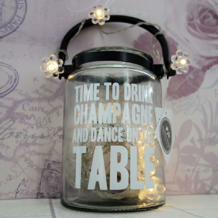 50% off Beautiful large glass 'Time to Drink Champagne' hurricane Lantern